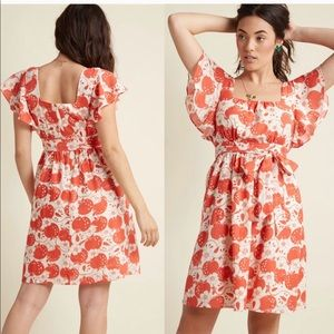 ModCloth apple print dress with flutter sleeves